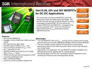 Gen10.59, 25V and 30V MOSFETs for DC-DC Applications