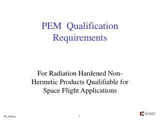 PEM  Qualification Requirements