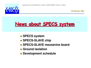 News about  SPECS  system
