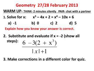 Geometry  27/28 February 2013
