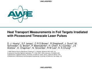 Heat Transport Measurements in Foil Targets Irradiated with Picosecond Timescale Laser Pulses