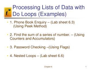 Processing Lists of Data with Do Loops (Examples)