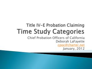 Title IV-E Probation Claiming  Time Study Categories