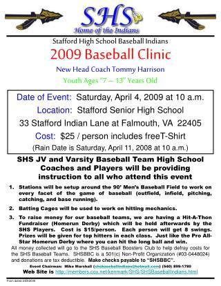 2009 Baseball Clinic Stafford High School Baseball Indians