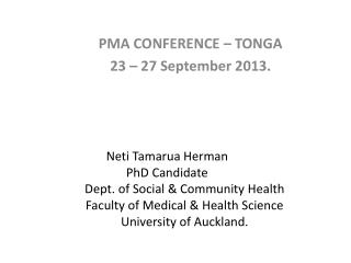 PMA CONFERENCE – TONGA 23 – 27 September 2013.