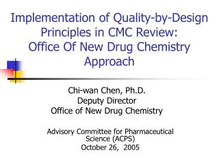 Advisory Committee for Pharmaceutical Science (ACPS) October 26,  2005