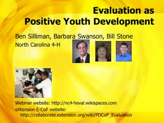 Evaluation as  Positive Youth Development