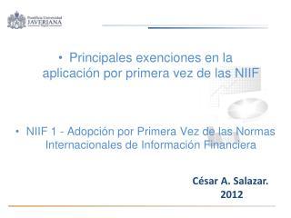 Principales exenciones en la aplicación por primera vez de las NIIF
