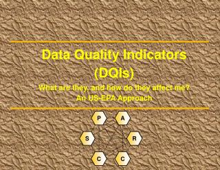 Data Quality Indicators (DQIs) What are they, and how do they affect me? An US-EPA Approach