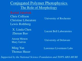 Conjugated Polymer Photophysics : The Role of Morphology