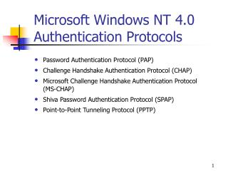 Microsoft Windows NT 4.0 Authentication Protocols
