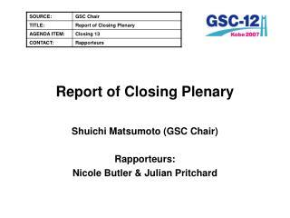 Report of Closing Plenary