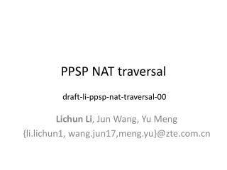 PPSP NAT traversal