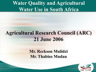 Water Quality and Agricultural Water Use in South Africa