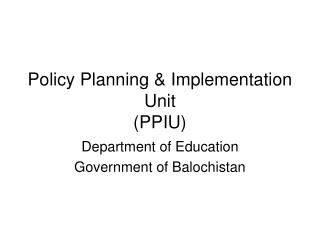 Policy Planning & Implementation Unit (PPIU)