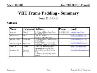 VHT Frame Padding - Summary