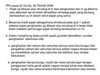 PPh pasal 24 UU No, 36 TAHUN 2008