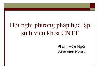 Hội nghị phương pháp học tập sinh viên khoa CNTT
