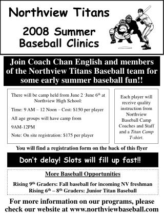 Northview Titans 2008 Summer Baseball Clinics