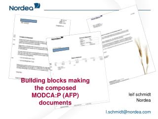 Building blocks making  the composed   MODCA:P (AFP)  documents