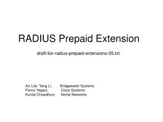 RADIUS Prepaid Extension