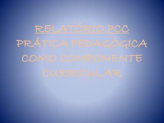 RELATÓRIO PCC  PRÁTICA PEDAGÓGICA COMO COMPONENTE CURRICULAR