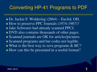 Converting HP-41 Programs to PDF