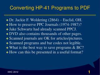 Converting HP-41 Programs to PDF