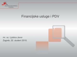 Financijske usluge i PDV