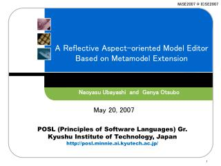 A Reflective Aspect-oriented Model Editor  Based on Metamodel Extension