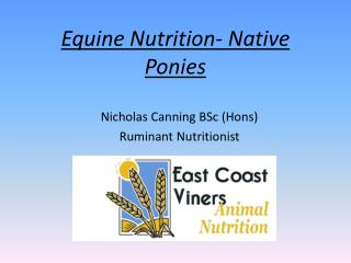Equine Nutrition- Native Ponies