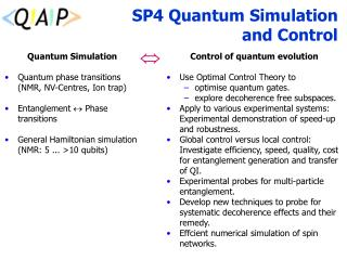SP4 Quantum Simulation  and Control