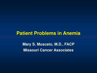 Patient Problems in Anemia