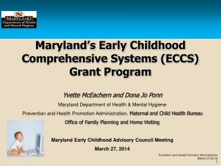 Maryland's Early Childhood Comprehensive Systems (ECCS) Grant Program
