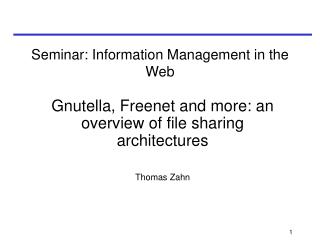 Seminar:  Information Management in the Web