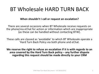 BT Wholesale HARD TURN BACK