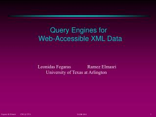 Query Engines for  Web-Accessible XML Data