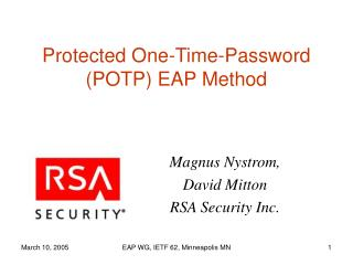 Protected One-Time-Password (POTP) EAP Method