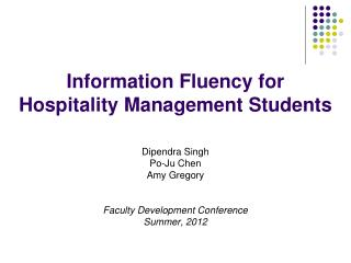 Information Fluency for  Hospitality Management Students