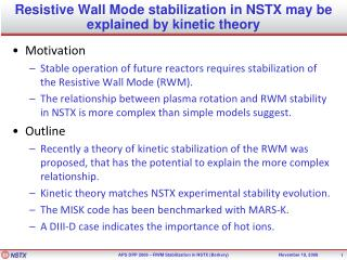 Resistive Wall Mode stabilization in NSTX may be explained by kinetic theory