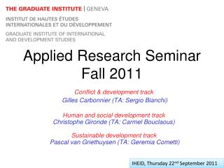 Applied Research Seminar Fall 2011