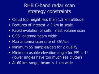 RHB C-band radar scan  strategy constraints