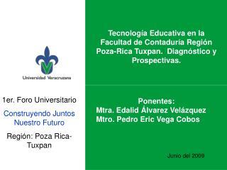 1er. Foro Universitario Construyendo Juntos Nuestro Futuro Región: Poza Rica- Tuxpan