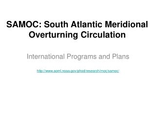 SAMOC: South Atlantic Meridional Overturning Circulation