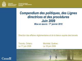 Direction des affaires réglementaires et de la liaison auprès des brevets