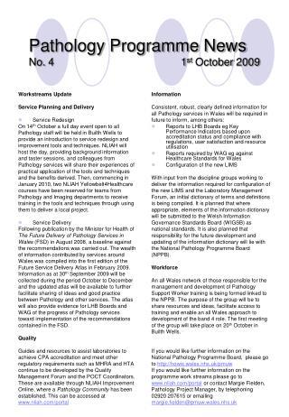 Pathology Programme News No. 4                                           1 st  October 2009
