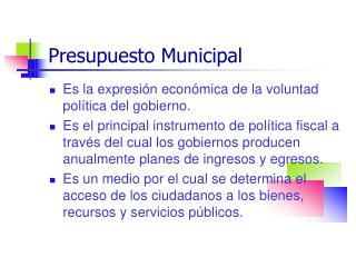 Presupuesto Municipal
