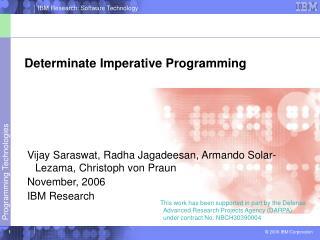 Determinate Imperative Programming