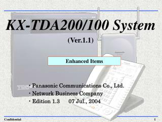 KX-TDA200/100 System