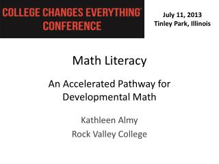 Math Literacy An Accelerated Pathway for  Developmental Math